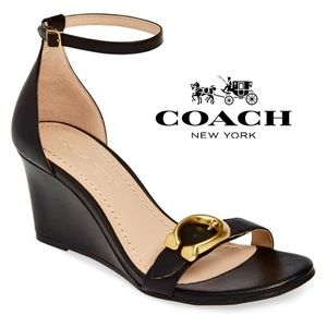 NWT Coach Odetta Wedge Leather Sandals in Black